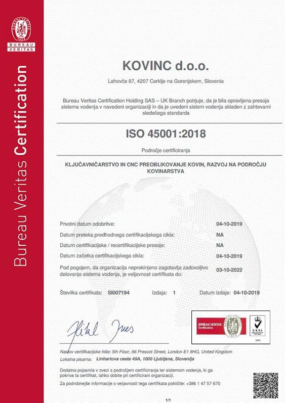 Primer certifikata: ISO 45001